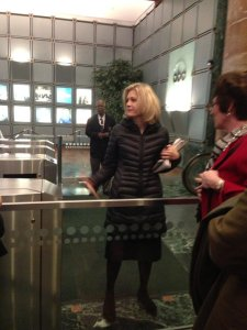 Diane Sawyer and colleague Robin Roberts both stopped to say hi in the ABC lobby.