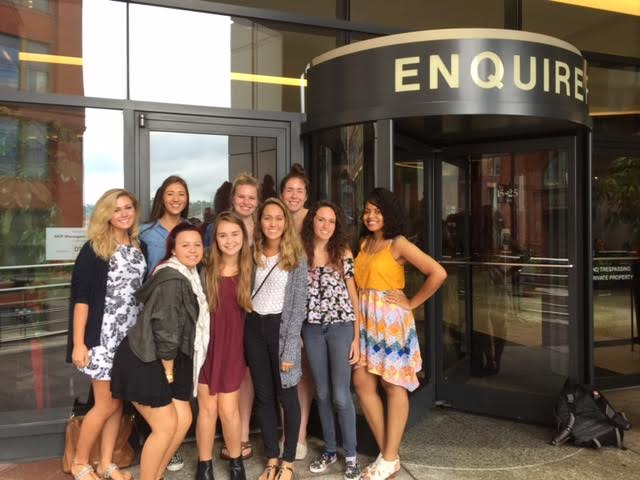 Media & The Millennials students leave The Cincinnati Enquirer for lunch in Over the Rhine.