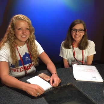 Taylor Trapp and Nicole DeLise take a turn at the MUTV anchor desk.