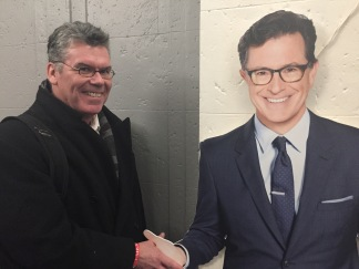 "Doug Newberry""meets"" Stephen Colbert after his show."