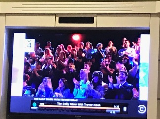 A camera sweep catches Miami students at Trevor Noah's show.