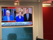 Mika Brzezinski chats with Elizabeth Warren with Joe Scarborough broadcasting from another location.