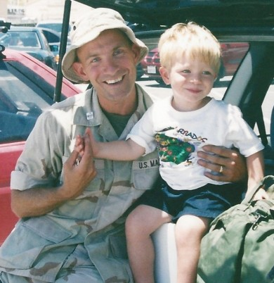 Nico Jaworski spends time with his father in 2003. -- Contributed photo